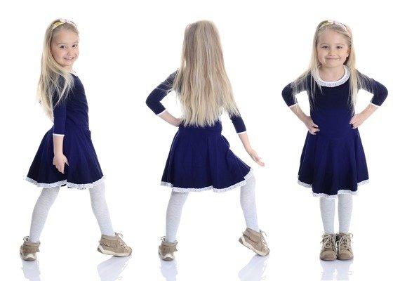 2cbbb50d4f6e44 Urocza sukienka dla dziewczynki z KORONKĄ granatowy - Sklep Do-Tanca.pl