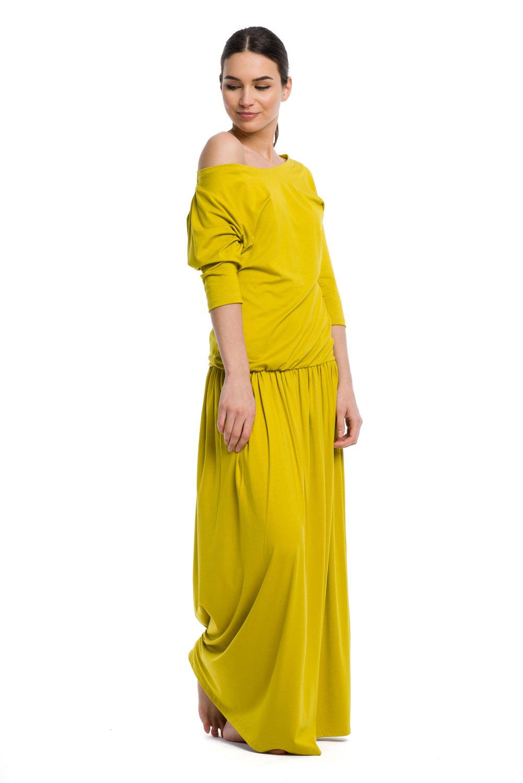 d0246540 Długa sukienka MAXI wiskoza - pistacjowy