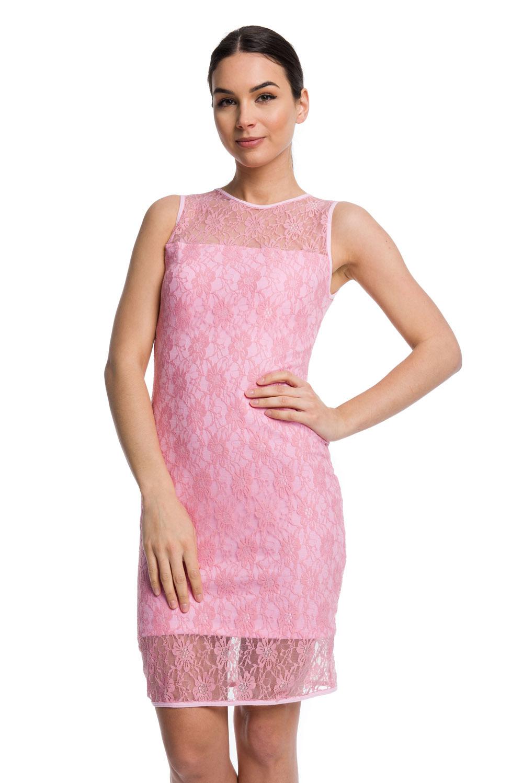 b181415a51 Sukienka koronkowa DOPASOWANA - różowy · Sukienka koronkowa DOPASOWANA -  różowy ...