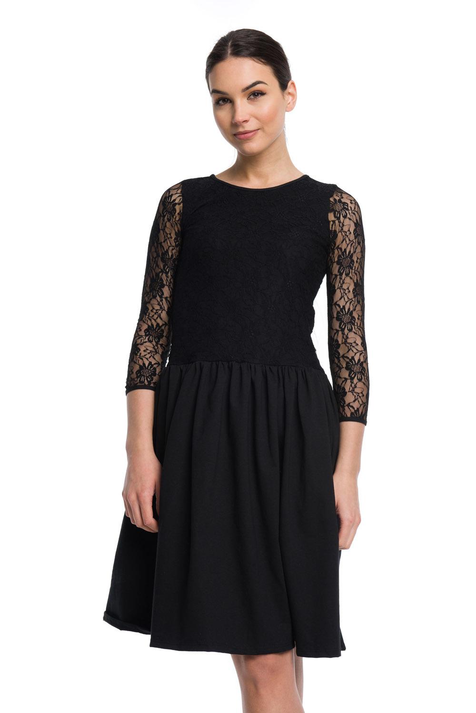 15047412a73 Sukienka koronkowa rozkloszowana - czarny · Sukienka koronkowa rozkloszowana  - czarny ...